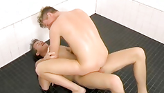 Pretty young and sexy gay boyfriends are having hot fuck in the bathroom