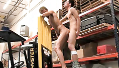 Handsome twinks met at the gym and now are hotly kissing before fuck