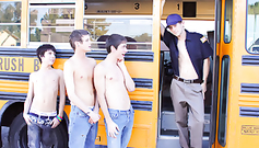 A buss driver and three twink students