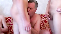Our sex instructor does his best in sucking our small dicks