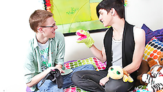 Teen cute gays are having fun in the bedroom