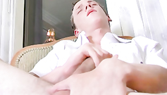 Cute slender sexy blonde gay student is getting his ass pumped by teacher