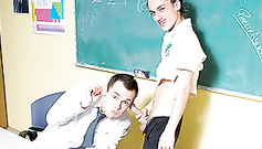 Pretty young gay teacher got his mouth filled up with gay student's cumload