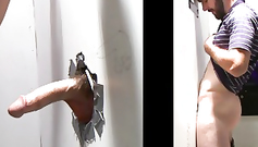 Hairy cock penetrated through the hole in the wall